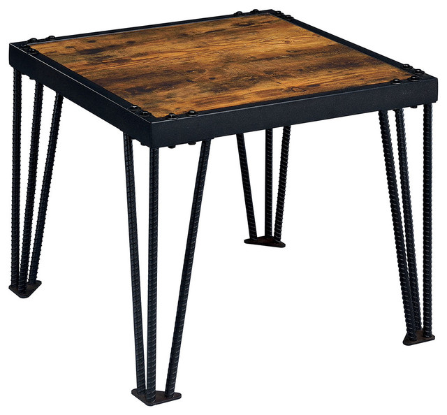 End Table With Wood Top Black Metal Legs