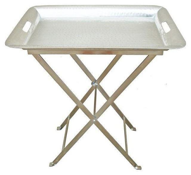Silver Hammered Tray Table With Removable