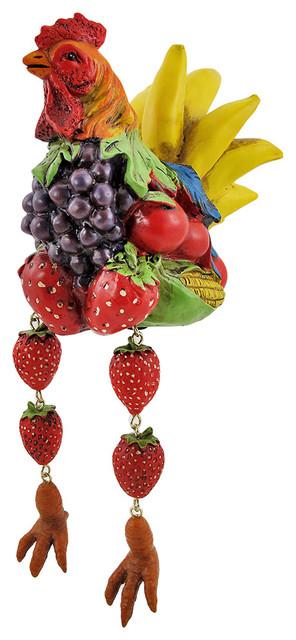 Shop Houzz Zeckos Fruit Rooster Dangler Shelf Sitter