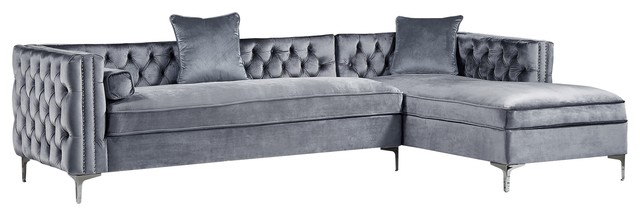 Jeannie Velvet Tufted With Nailhead Trim Sectional Gray Right Facing Chaise