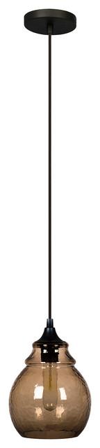 """Reveler Glass Pendant Light, Brown, 10""""."""