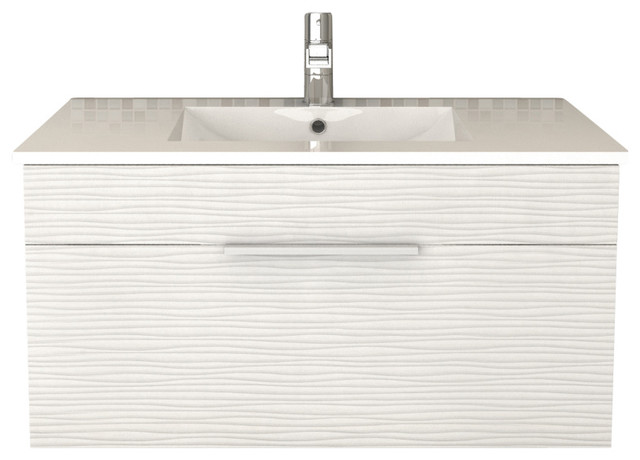 Vancouver Textured Floating Bathroom Vanity White 36
