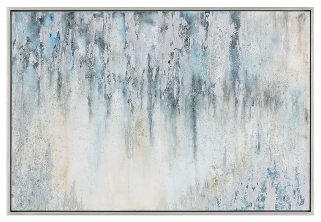 "Oversize Gray Blue White Abstract Painting, 61"" Silver Modern Light."