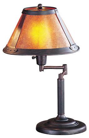 Cal Lighting Bo-462 60 Watt 18 Craftsman / Mission Metal Swingarm Table Lamp.
