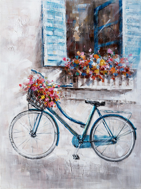 """""""a Bike Ride On A Sunday Afternoon"""" Hand Painted Canvas Art, 36""""x48""""."""
