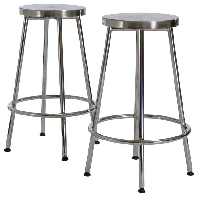 Sensational Gdf Studio Beverly Modern Design Chrome Steel Bar Stools Set Of 2 Caraccident5 Cool Chair Designs And Ideas Caraccident5Info