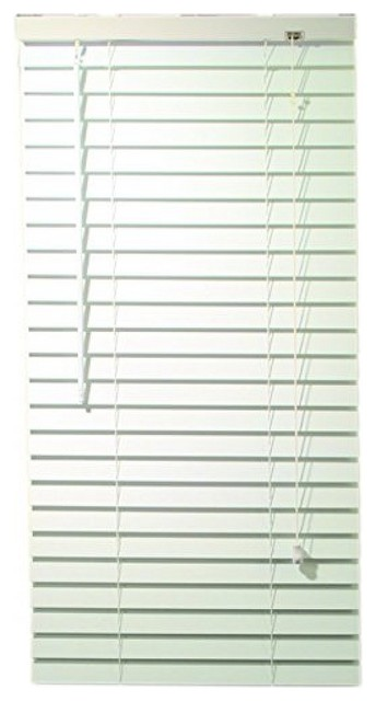 "2"" Faux Wood Mini Blinds With Contemporary Valance, White, 35""x72""."