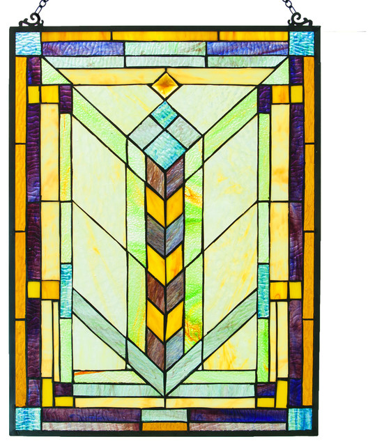 "24"" Stained Glass Geometric Window Panel"