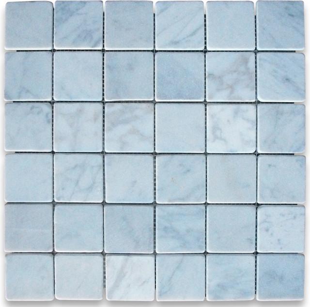 """12""""x12"""" Carrara White Square Mosaic Tile Tumbled, Chip Size: 2""""x2""""."""