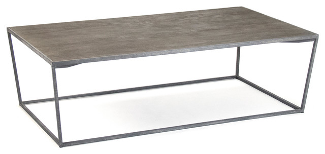 Bleecker Modern Rustic Industrial Gray Steel Reclaimed Oak Coffee Table