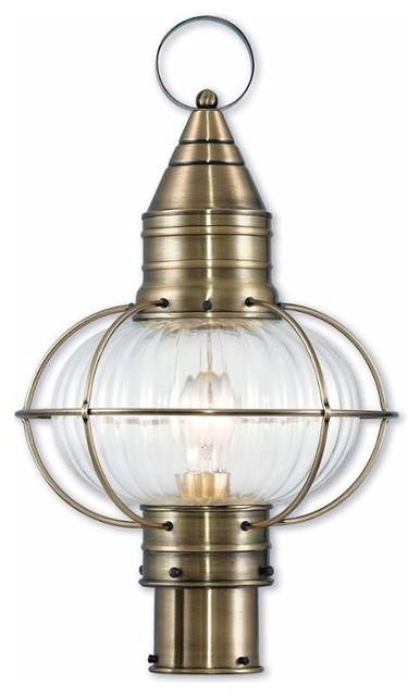 Newburyport 1-Light Post Lantern, Antique Brass