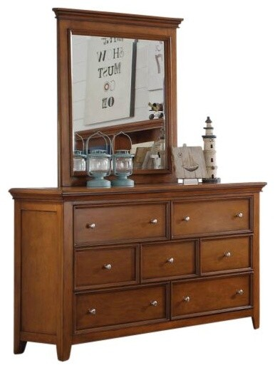 Gilbert Cherry Oak 7 Drawer Dresser, With Mirror.