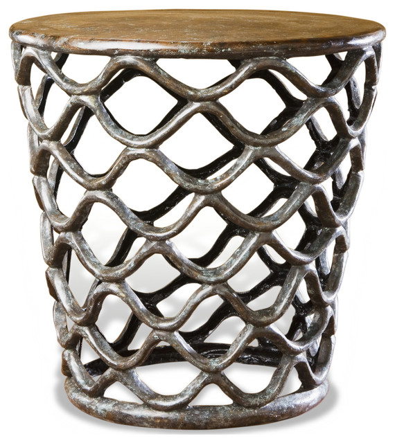 Lattice Accent Table Rustic French Antique Cast Brass Side Table