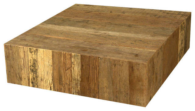 Rustic Railroad Ties Wood Square Unique Coffee Table