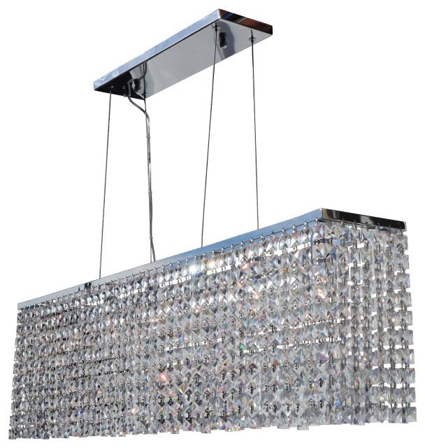5-Light Modern Ceiling Chandelier Dining Lighting Fixture Black Chrome Finish