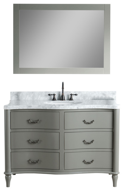 """Aimee Solid Wood Vanity With Mirror And Faucet, Gray, 48""""."""