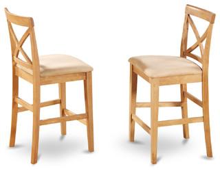 X-Back Stools With Upholstered Seat, Oak Finish, Set of 2