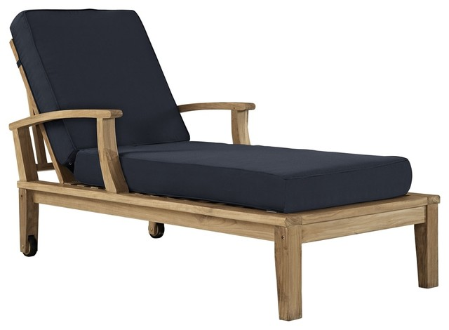 Marina Outdoor Patio Teak Single Chaise Natural Navy