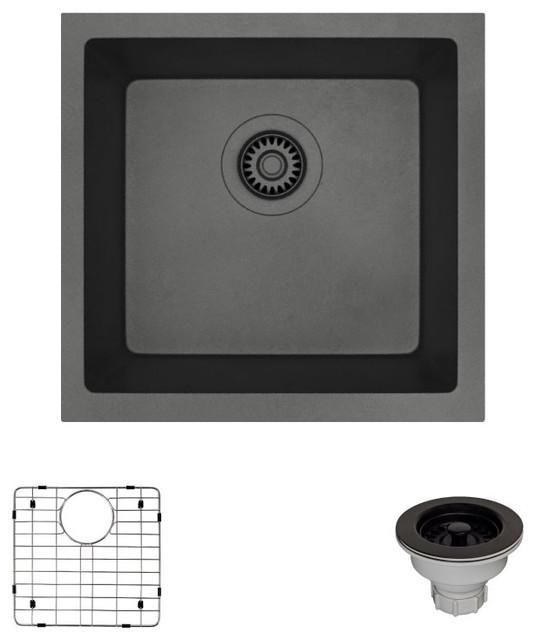 R3-1003-Car Single Bowl Composite Granite Sink, Carbon, Strainer.