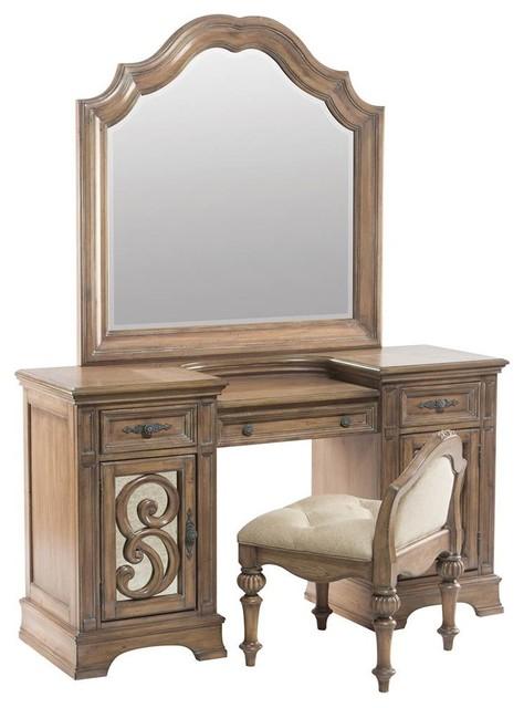 3-Drawer Vanity Desk in Antique Linen