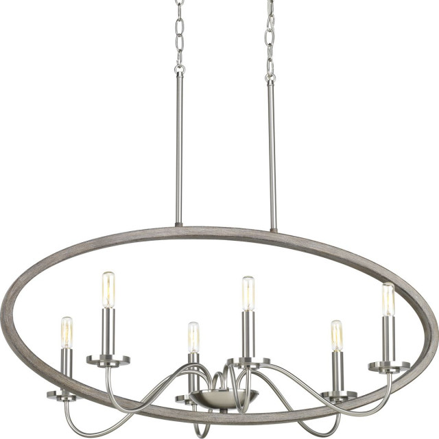 Progress Fontayne Collection 6-Light Chandelier P400082-009, Brushed Nickel