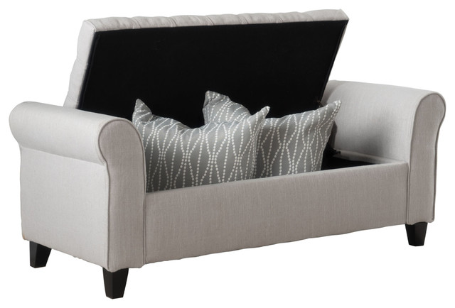 Lamara Modern Armed Storage Bench, Sky Gray Transitional Accent And Storage