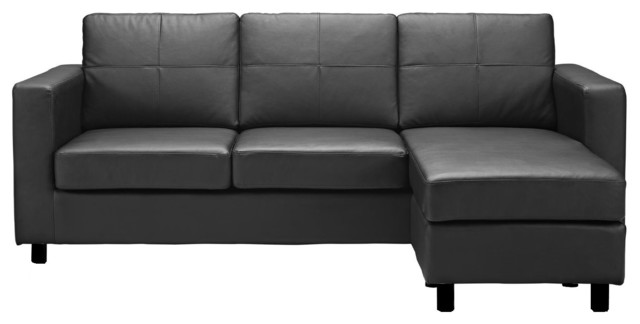 Merveilleux Modern Bonded Leather Sectional Sofa, Small Space Configurable Couch, Black