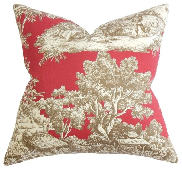 Traditional Accent Pillows : Shop Houzz The Pillow Collection Inc. Evlia Toile Pillow Red - Decorative Pillows