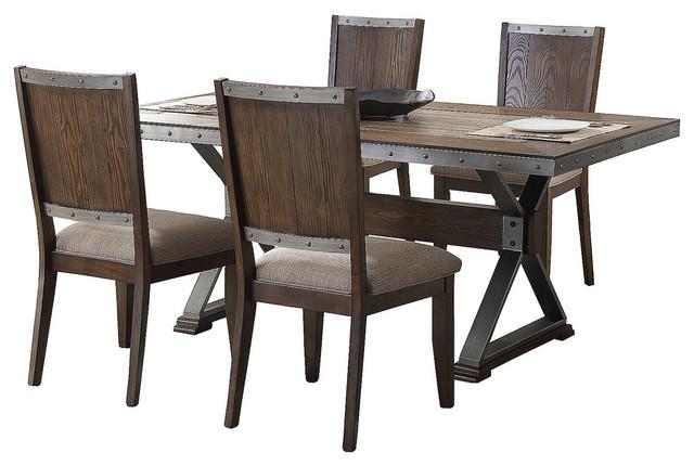 Dark Oak With Marble Center Top 5 Piece Rectangular Dining Set