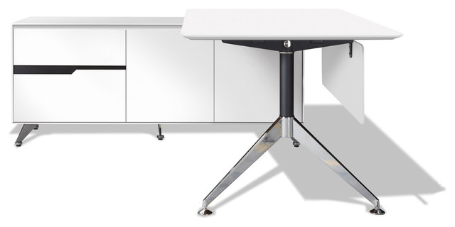 Modern White Lacquer L-Shaped Desk With Storage, Left Return.