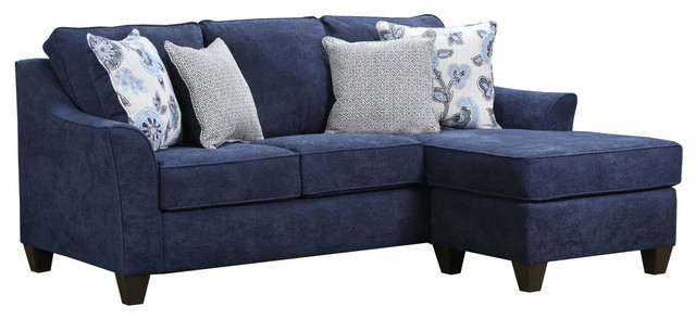 Lane Home Furnishings Prelude Navy Sofa Chaise Transitional