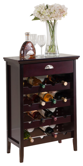 Wood Buffet Wine Rack And Cabinet With Drawer, Dark Cherry Finish - Transitional - Console ...