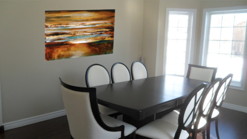 help me choose wall art! photoshopped art into dining room!
