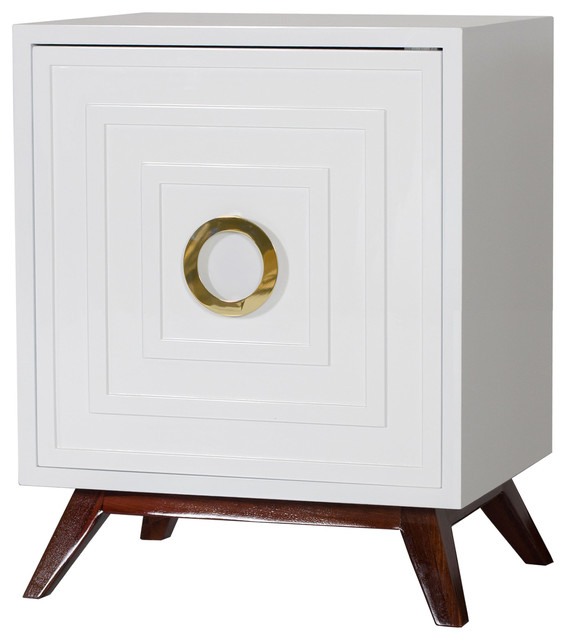 harrison hollywood regency white lacquer brass nightstand