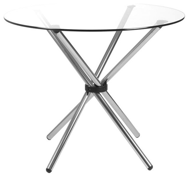 Round Glass Top Table With Crossed Chrome Legs   Hydra (36 In. Glass Top