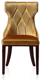Reine Velvet Dining Chairs, Set of 2, Antique Gold
