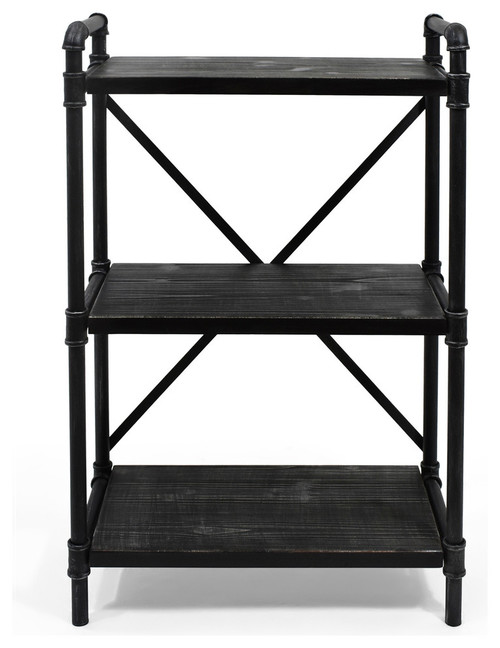 Bethany Industrial Three Shelf Bookcase