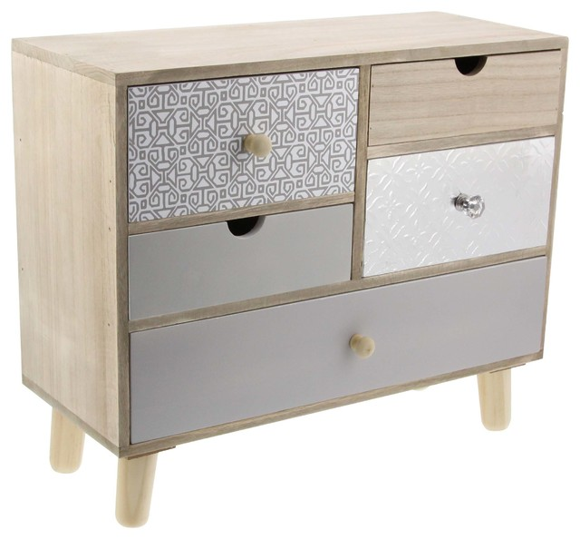 Contemporary 5-Drawer Wood and Aluminum Jewelry Box