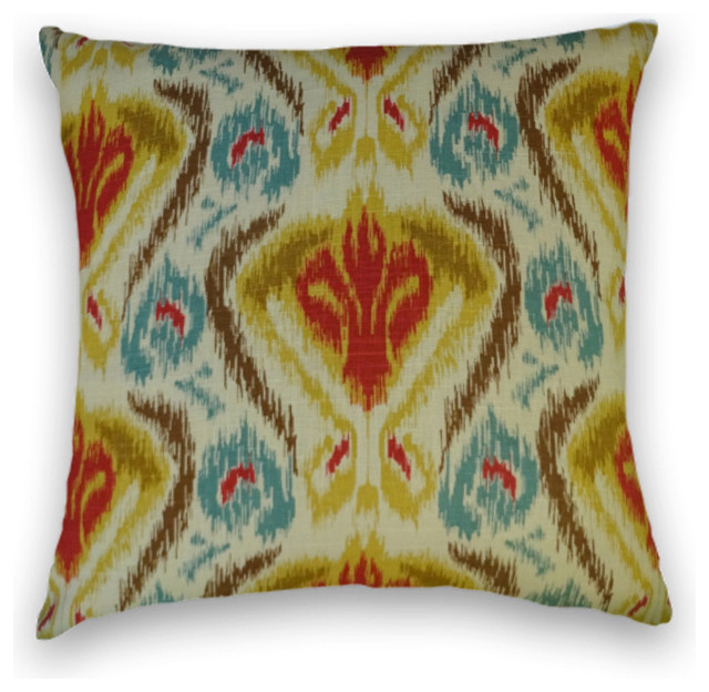 Traditional Throw Pillows : Yellow Blue Red Abstract Throw, - Traditional - Decorative Pillows - by Cody & Cooper Designs