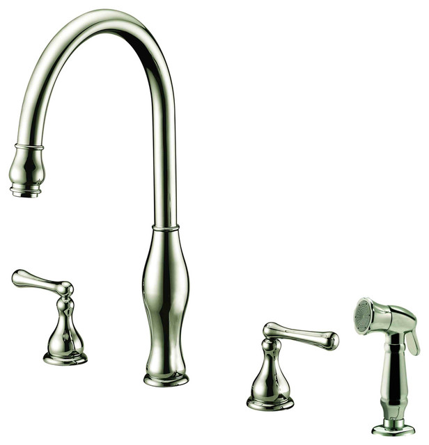 Dawn 3 Hole 2 Handle Widespread Kitchen Faucet With Side Spray
