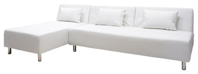 Atlanta Convertible Sectional Sofa Bed White