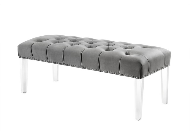 Blanche Velvet Button Tufted Nailhead Trim Clear Acrylic Legs Bench, Grey