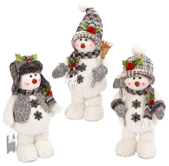 Plush Standing Snowmen Figurines, Set Of 3.
