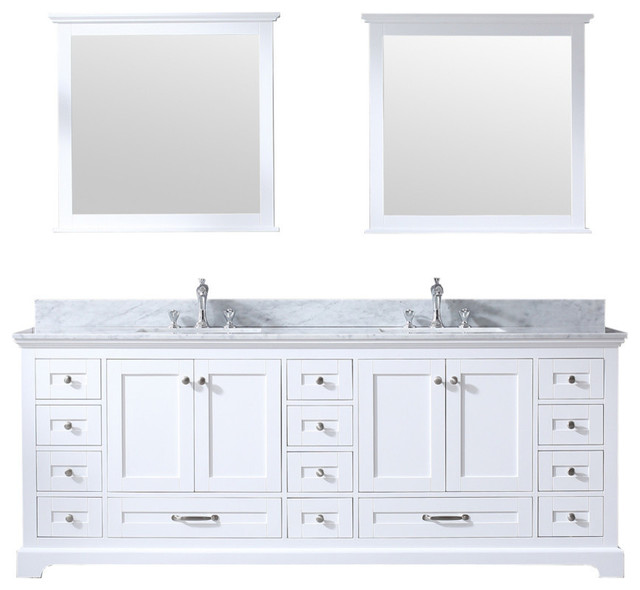 "Dukes 84"" Double Vanity White, Carrera Marble Top, Square Sinks and 34"" Mir"