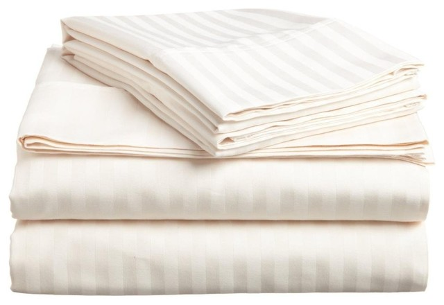 Lux Decor Collection Ultra-Soft Luxury 4 Piece Bed Sheet, Vanilla, King