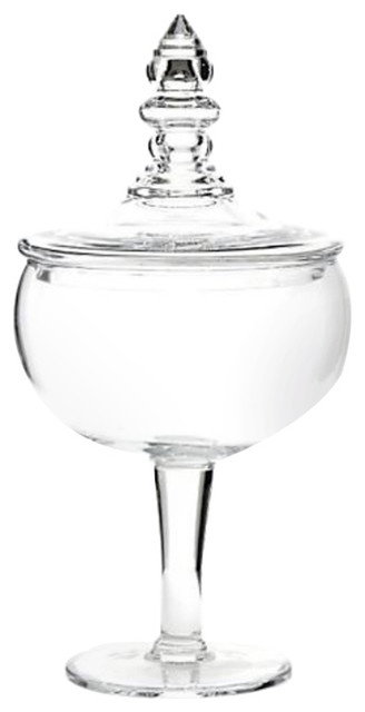 Luxe 20 Footed Clear Glass Apothecary Jar, Lid Candy Urn Colonial Williamsburg.