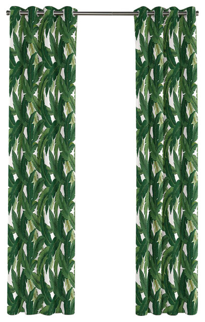 Green Banana Leaf Grommet Curtain Single Panel Tropical  : tropical curtains from www.houzz.com size 408 x 640 jpeg 107kB