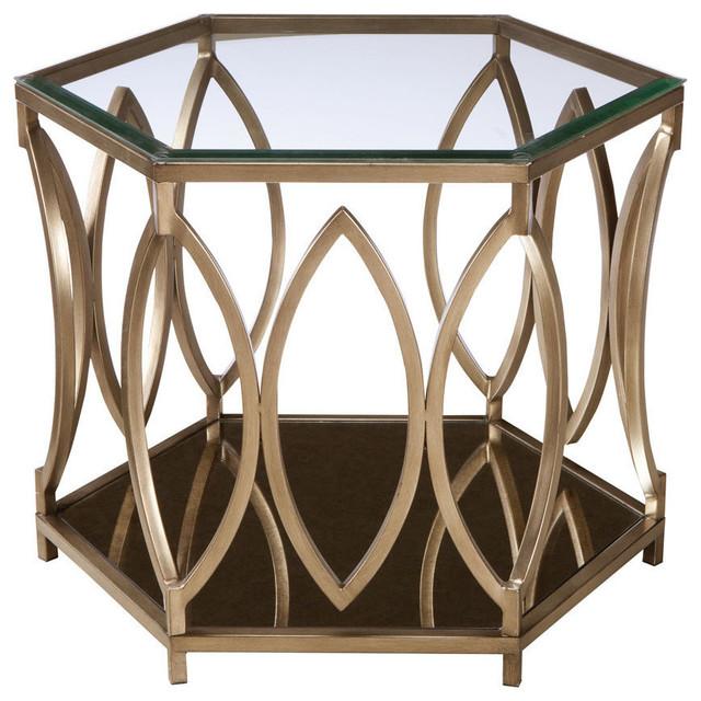 Standard Furniture Santa Barbara Hexagonal Glass Top End Table - Hexagon wood coffee table