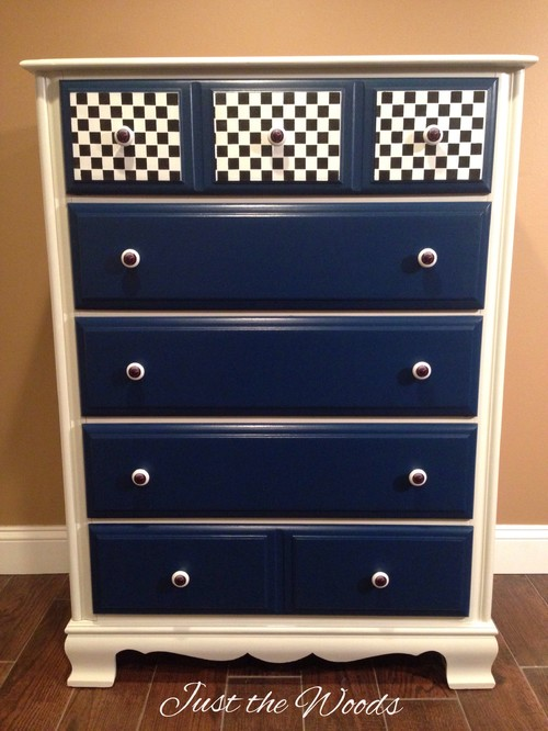 Race Car Dresser Hand Painted White Body Royal Blue Drawers Sdometer S And Racing Flag On Top Drawer Lined