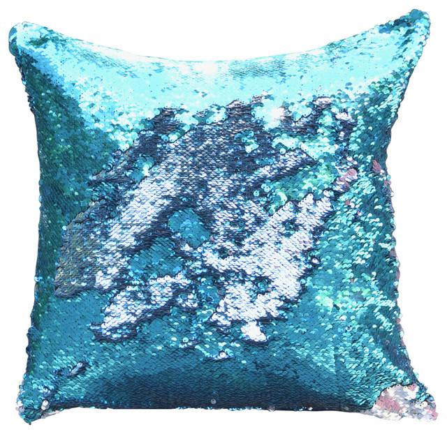 Silver Blue Decorative Pillows : Lake Blue & Silver Sequin Mermaid Pillow - Contemporary - Decorative Pillows - by Mermaid Pillow Co